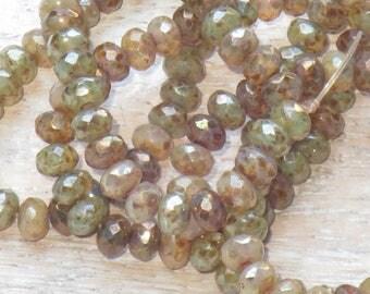 5x3mm Czech Glass Faceted Rondelle Beads Champagne Mix (30pcs) -Czech Glass Beads