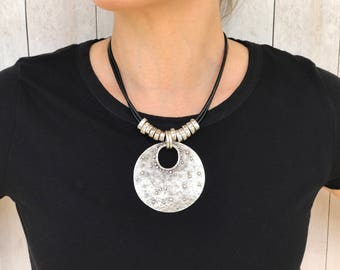 Statement Necklace Tribal Necklace Leather Necklace Silver Necklaces Ethnic Jewelry Boho Necklace Summer Jewelry Bold Statement Necklaces