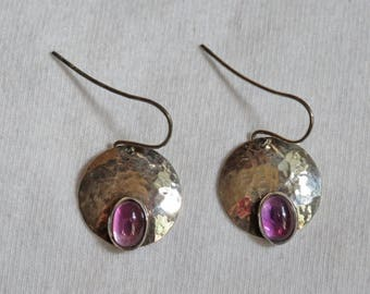 Amethyst and Hammered Sterling Silver Earrings