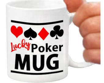Ceramic poker player mug, ceramic coffee mug, poker gift items, printed coffee mugs, poker lover gifts, poker face, poker player gifts, mugs