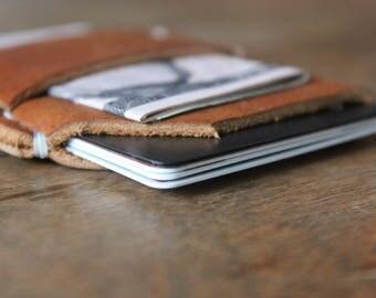 Slim Wallet, Minimalist Wallet, Leather Wallet, Men's Wallet, Card Holder, Handmade- Light Brown Leather