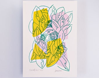 Floral #2 Limited Edition Screen Print, Line Drawing, Hand Printed, Fashion Illustration, Fashion Wall Art, Floral Print, Floral Art, Pink