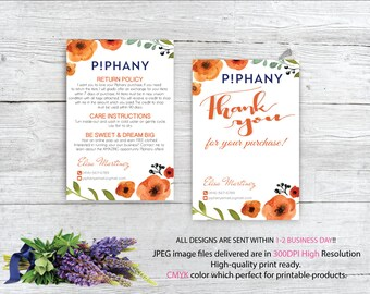 Piphany Care Instruction, Piphany Thank You Card, Custom Piphany Business, PERSONALIZED CARDS, Printable Card - Digital file TP04