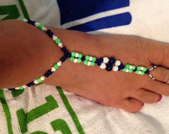 SeaHawks Barefoot sandals, sandals, summertime wear, handmade, hand crafted, beaded