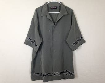 Simple grey tribal button-up