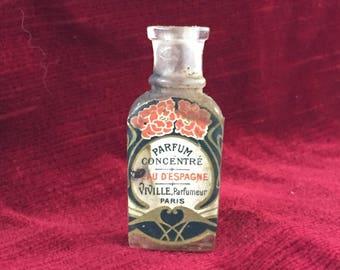 petit flacon à parfum ancien,peau d'Espagne parfumerie Viville_small bottle old perfume_botella pequeña con perfume viejo, piel española,
