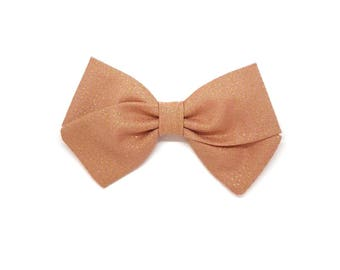 Barrette girl or baby bow headband pink and gold