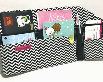 Black chevron white travelers notebook wallet, Bill Organizer, passport holder