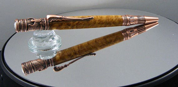Handcrafted Federal Ink Pen in Antique Copper and  Brown Mallee Burl