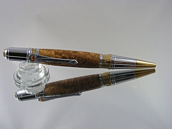 Handcrafted Art Deco Pen in Gold Tn and Chrome with Black Ash Burl