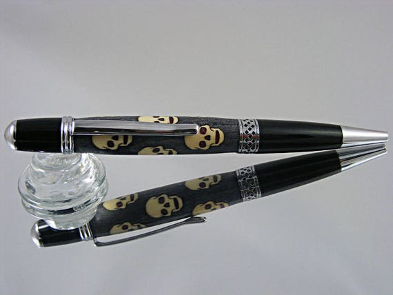 Handcrafted Inlayed Pen in Chrome with Skulls Inlay