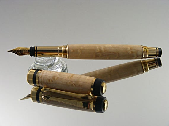 Classic Elite Fountain Pen in 24K Gold and Birdseye Maple
