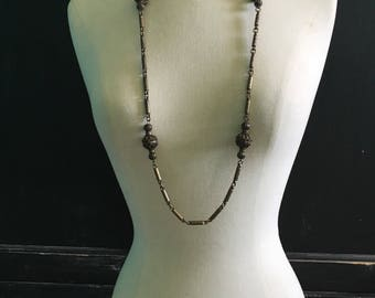 Long beaded copper necklace