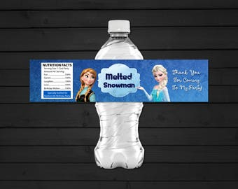 Personalized Frozen Elsa Anna Water Bottle Label Printable Birthday Party Melted Snowman Snow Snowflake Printable DIY - Digital File