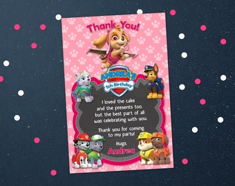 Personalized Paw Patrol Skye Thank You Card Pink For Girl Birthday Party Chalkboard Chase Everest Marshall Printable DIY - Digital File