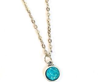Dainty Druzy Necklace, Druzy necklace, turquoise Druzy necklace