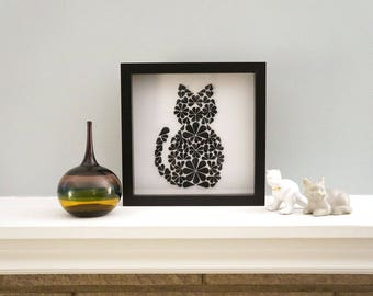 Black Cat - Paper Art for Home Decor. Great Artwork to Decorate for Halloween or Any Occasion!  By DinoCat Studio