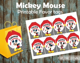 Mickey Mouse Favor Tags, Mickey Mouse Gift Tags, Mickey Mouse Tags, Mickey Mouse Thank You Tags, Mickey Mouse Labels, Mickey Mouse Stickers