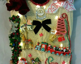Ugly Christmas Sweater Vest Men Size L