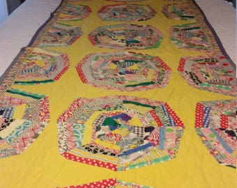 Vintage Handmade Bright Colored Quilt