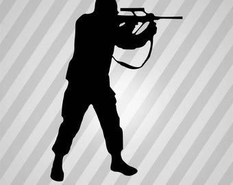 Soldier Silhouette - Dxf, Svg, Eps, Rld, Rdworks, Pdf, Png And Ai Print Files, Digital Cut, Vector File, Svg File