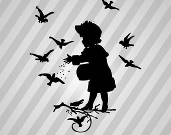 girl feeding birds - Svg Dxf Eps Silhouette Rld RDWorks Pdf Png AI Files Digital Cut Vector File Svg File Cricut Laser Cut
