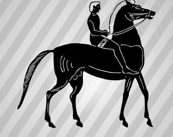 Riding Horse Silhouette Horse Riding - Svg Dxf Eps Silhouette Rld RDWorks Pdf Png AI Files Digital Cut Vector File Svg File Cricut Laser Cut