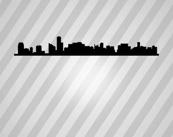 miami skyline Silhouette - Svg Dxf Eps Silhouette Rld RDWorks Pdf Png AI Files Digital Cut Vector File Svg File Cricut Laser Cut
