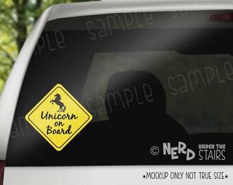 Unicorn on Board Car Decal, Fun Baby on Board Sticker, Unicorn Lover Gift, Nerdy Gift Decal, Geek Decal Gift, Unicorn Gift, Girl Mom Gift