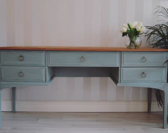 SOLD stag desk painted in Annie Sloan Duck Egg Shabby chic