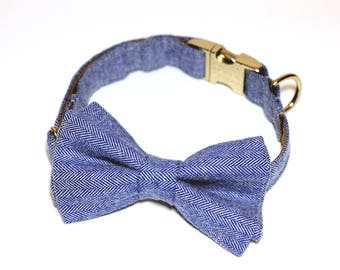 Bleu- Bow Tie with and without Collar
