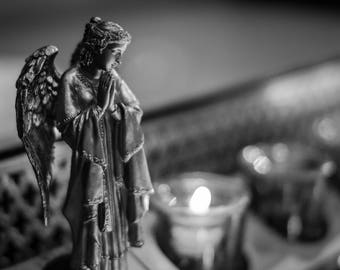 Angel at the Votive, Saint Patrick's Cathedral, NYC, Black & White Print, Wall Art