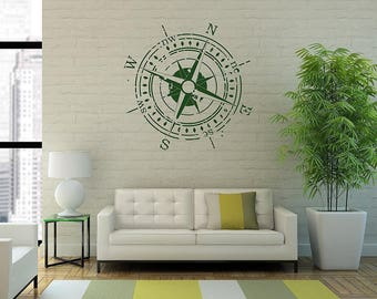 Walltattoo-Wall Sticker-bumper sticker * * * globetrotter-compass-Wind Rose * * * in vintage-style-(sizes and color selection)