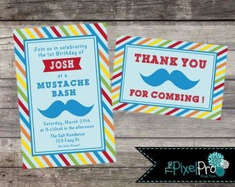 Mustache Bash birthday party invitation red orange green yellow and blue colors, birthday invitation with FREE thank you card, THEPIXELPRO