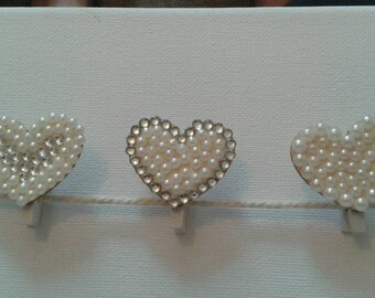 3 Heart shaped mini pegs embellished with gems