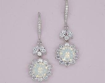 White Opal Earrings Silver Wedding Earrings Swarovski Crystal Earrings, Crystal Drop Earrings, Bridesmaid Gift, silver bridal jewelry