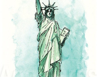 New York USA / art print from an original watercolor painting