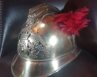 Original Vintage Brass French Fireman's Helmet ~ Dunkirk Casque Pompiers c. 1890