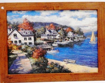 """Listing 253 is a framed oil painting """"Harbor View"""""""