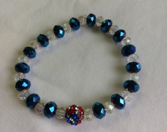 Blue Iris Glass Beads with Clear Accent Glass Beads Stretch Bracelet