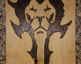 Horde/Alliance Logo Woodburning Wall Hanging