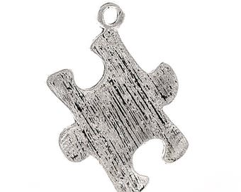 1 23 * 17 mm silver plated puzzle charm