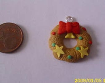 1 Crown charm/pendant star bow fimo 32 X 28 mm