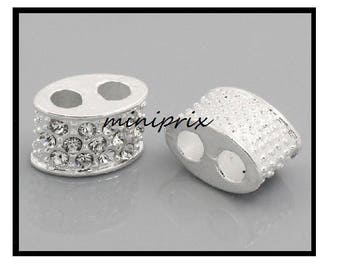 X 1 bead spacer double strand silver plated with Rhinestones.