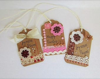 """Happy Easter"" vintage - set of 3 tags"