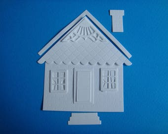 Cutout House and accessories for scrapbooking and card white drawing paper