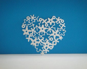 Height 7 cm width 7.7 cm heart shaped cutout flowers white