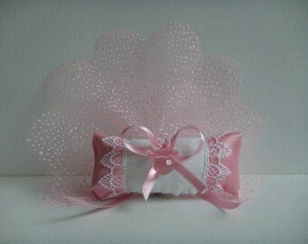Kit magnetic pin pillow and pacifier baby girl on tulle snowy pink with lavender to make you