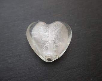 1 glass heart bead 28 mm cream white silver foil