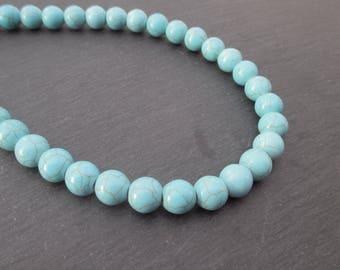 Blue dyed Howlite: 5 mm round beads 10 - precious stones blue